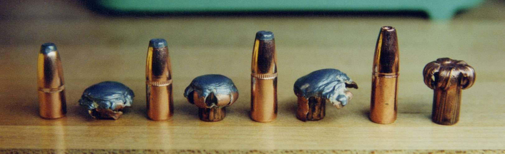 legend    l r  tested  unfired and recovered   348 caliber bullets   1